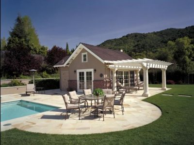 Pool house with shade trellis